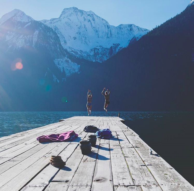 """""""Frost on the ground, and glaciers on the mountains are not reasons to keep us out of the water!"""" (Chilliwack Lake) ~ @the_wandering_willow"""