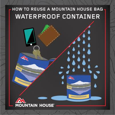 How to reuse a Mountain House bag as a waterproof container