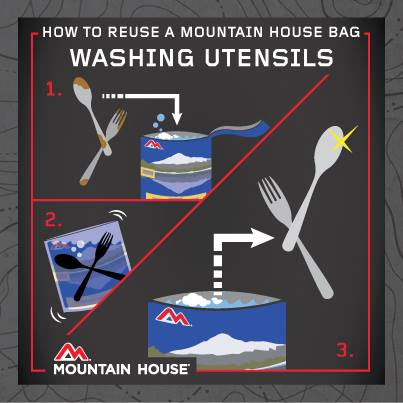Reuse a Mountain House bag by washing your utensils