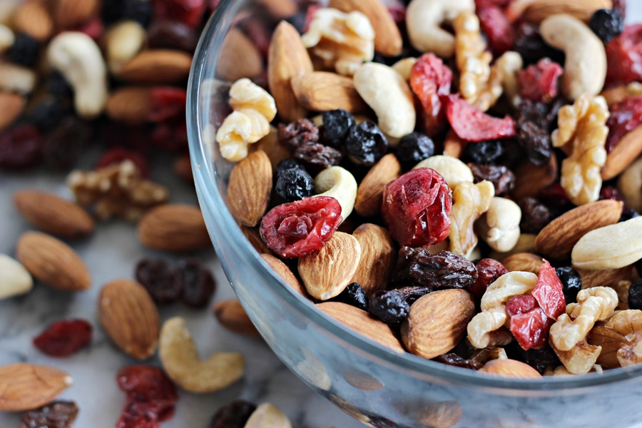 bowl of mixed nuts and fruit