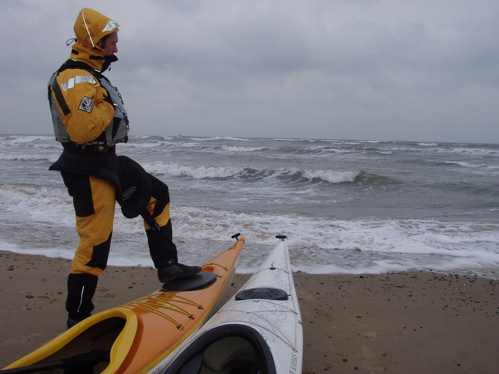 Sea Kayaker in cold weather gear