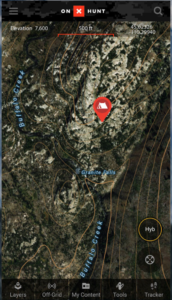 screenshot of a map on onxmaps.com