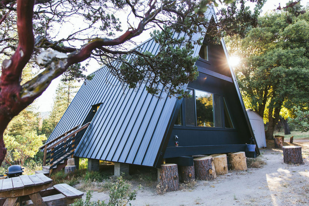 Black A-frame cabin in yosemite