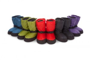 six pairs of down booties in assorted colors