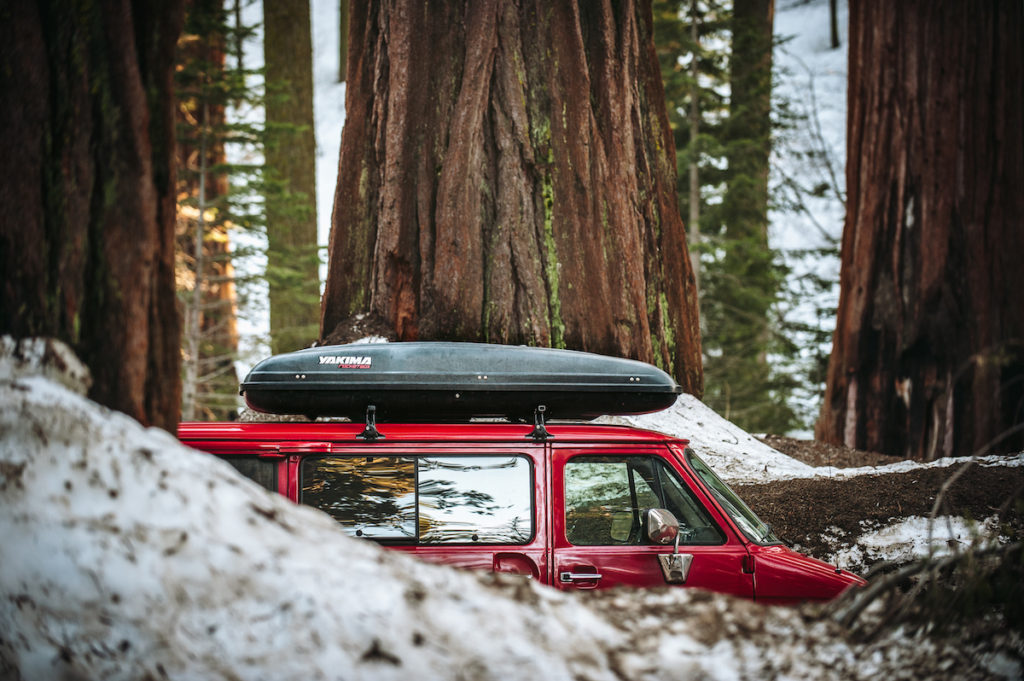 A red van with a black roof rack cruises through a grove of sequoias.