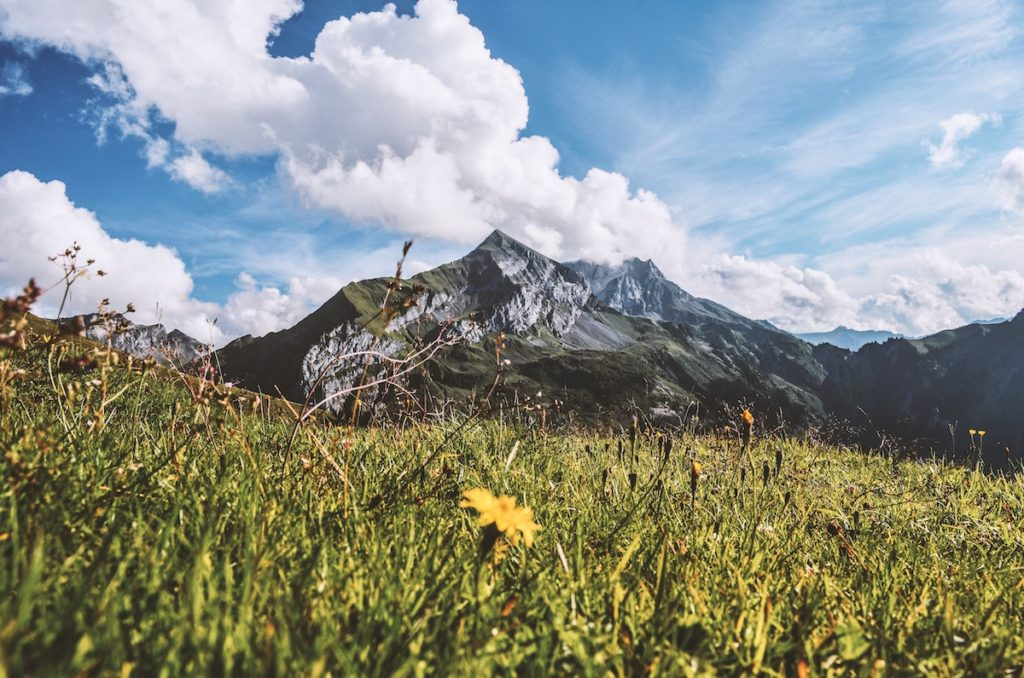 A rocky mountain topped with white clouds, green grass and yellow wildflowers in the foreground.