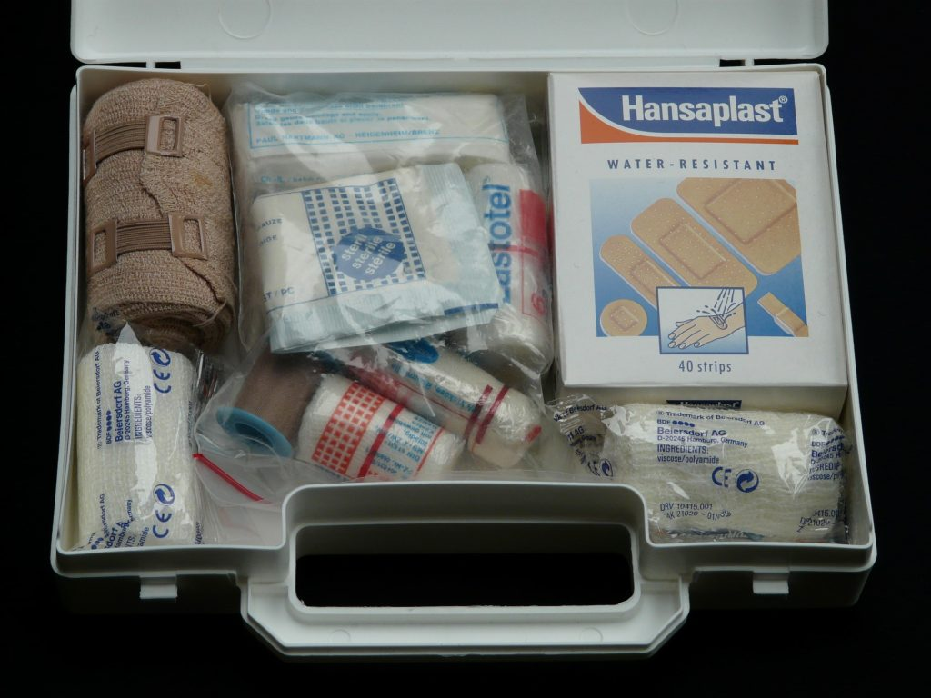 First aid emergency kit.