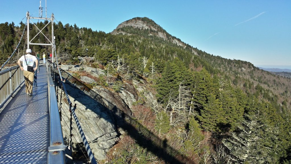 Swinging bridge at Grandfather Mountain State Park in NC.