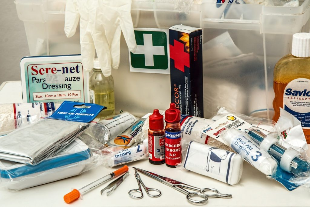 Emergency kit contents.