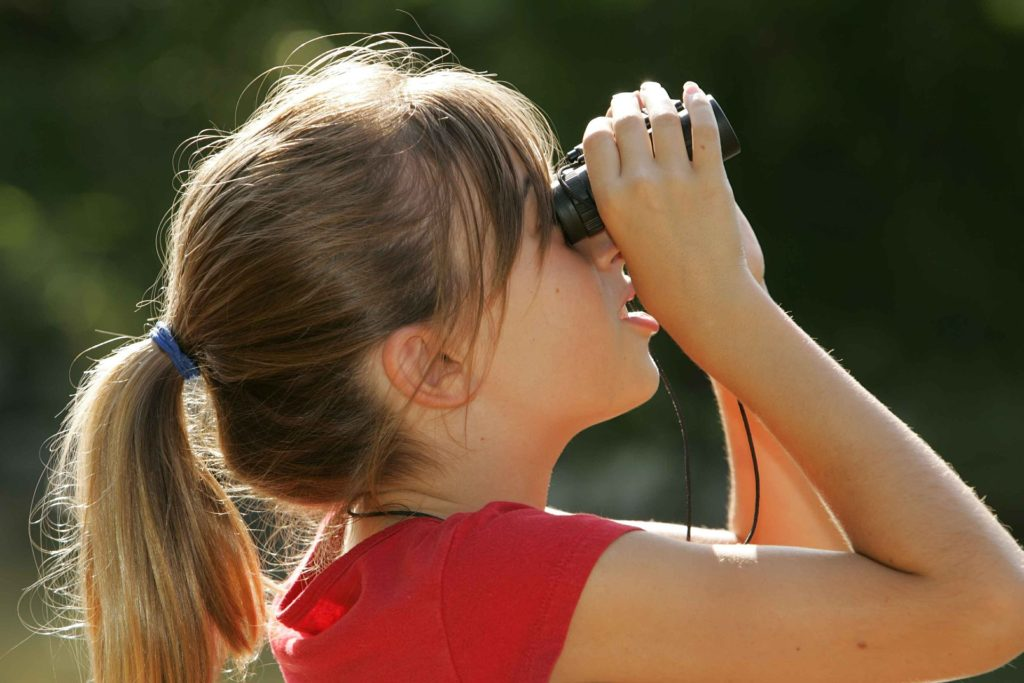 Girl looks with binoculars.